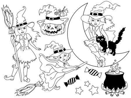 broomsticks: Vector black and white witches set with broomsticks, spider, bats, moon and pumpkin Illustration