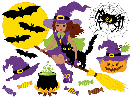 broomstick: Vector African American witch sitting on broomstick with cat, spider, bats, moon and pumpkin