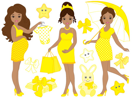 yellow african: Vector African American pregnant women set  with babys clothes and toys in yellow color