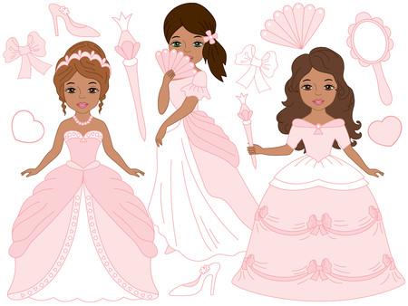 cinderella dress: Vector African American beautiful princesses set in pink, pastel dresses