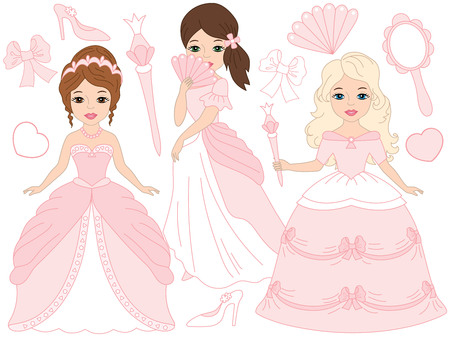 cinderella shoes: Vector beautiful princesses set in pink, pastel dresses
