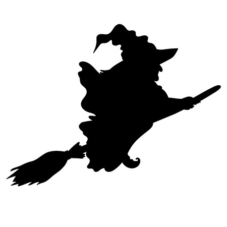 flying witch: Vector Halloween flying witch silhouette with broomstick