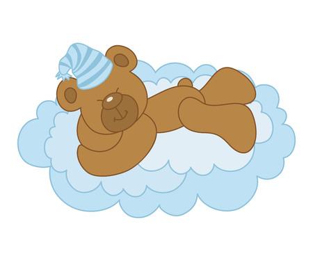 its a boy: Vector cute sleeping bear on a cloud - Its a Boy Illustration
