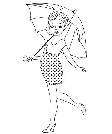 pregnant black woman: Vector black and white pregnant woman with umbrella