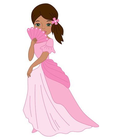 cinderella shoes: Vector African American princess with fan in pink dress