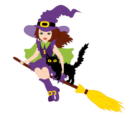 broomstick: Vector witch with cat sitting on broomstick