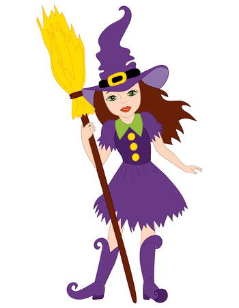 broomstick: Vector witch in purple dress standing with broomstick