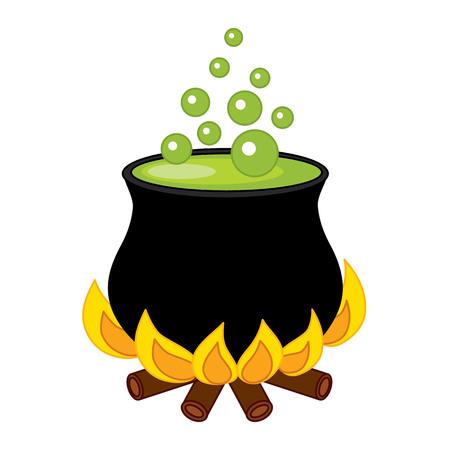 pocion: caldero negro del vector con la poci�n y burbujas Vectores