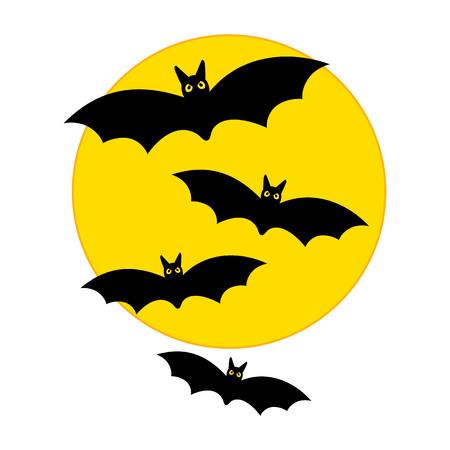 flying bats: Vector Halloween yellow moon with flying bats
