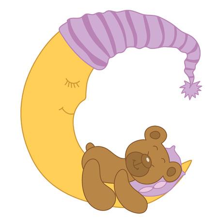 baby bear: Vector sleeping baby bear on the moon