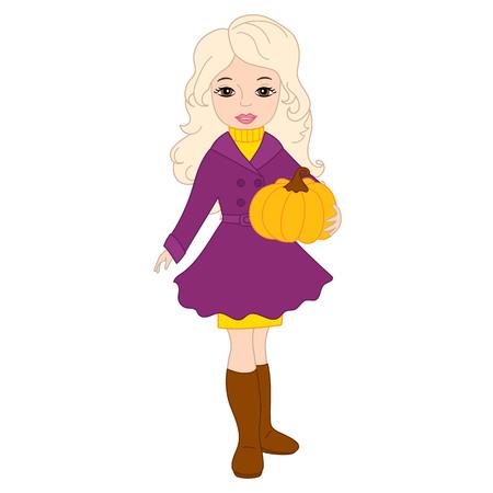 blond: Vector autumn beautiful blond girl with pumpkin Illustration