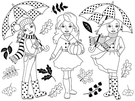 black hat: Vector black and white autumn girls set with umbrellas, pumpkin and leaves