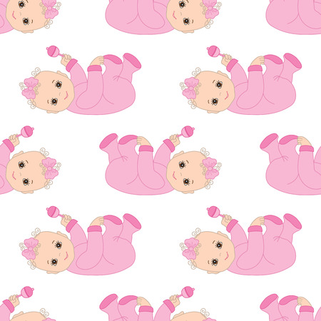 infant: Vector seamless pattern with Infant baby girl Illustration
