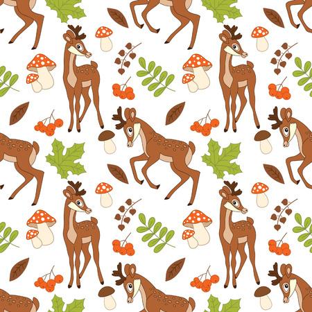 amanita: Vector seamless pattern with deers, amanita, berries and leaves