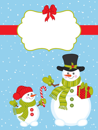 candy stick: Vector Christmas card with snowmen, candy stick and gift box Illustration