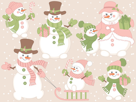 candy stick: Vector Christmas snowmen set with gift boxes, candy stick,  snow and sledge