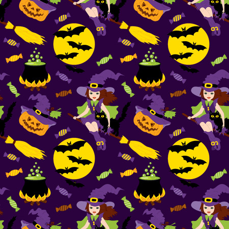 whitch: Vector Halloween seamless pattern with pumpkin, sweets, witch and the moon