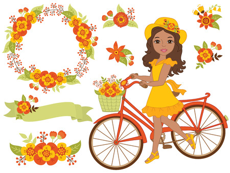 celebartion: Vector African American girl with bicycle, floral wreath and flowers
