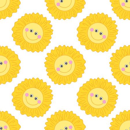 smiling sun: Vector seamless pattern with cartoon smiling sun