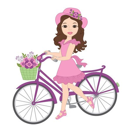 celebartion: Vector beautiful girl with bicycle, floral wreath and flowers Illustration
