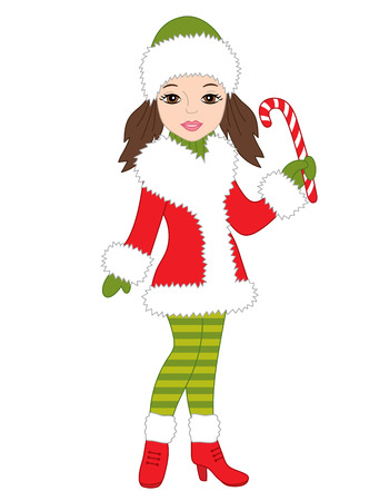 candy stick: Vector Christmas character girl with candy stick