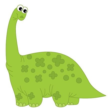 long neck: Vector cartoon green dinosaur with long neck Illustration