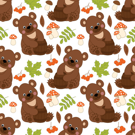 bear berry: Vector seamless pattern with cute bears, amanita, berries and leaves