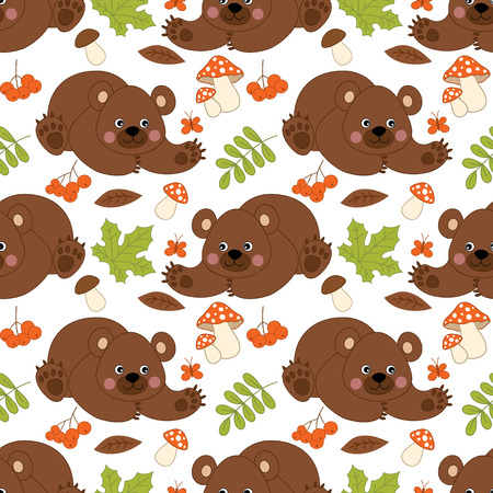 amanita: Vector seamless pattern with cute bear, amanita, berries and leaves Illustration
