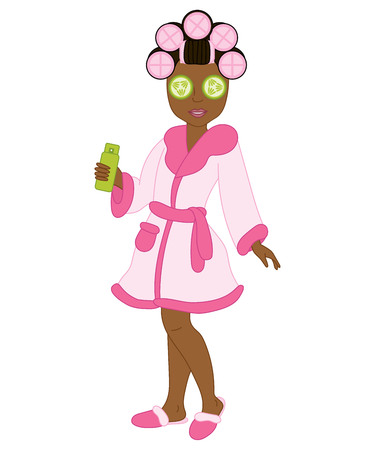 african american spa: Vector African American spa girl with rollers