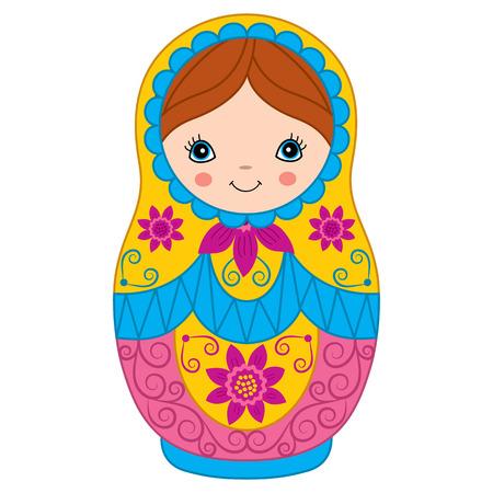 matreshka: Vector Russian traditional matryoshka with flower design Illustration