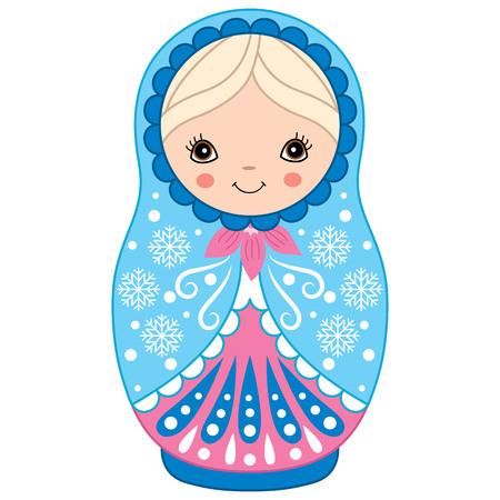 matreshka: Vector winter blue and pink matryoshka with snowflakes