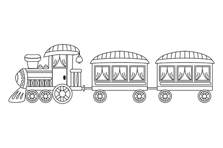 wagons: Vector black and white steam train with wagons Illustration