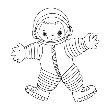 black and white: Vector black and white little happy astronaut Illustration