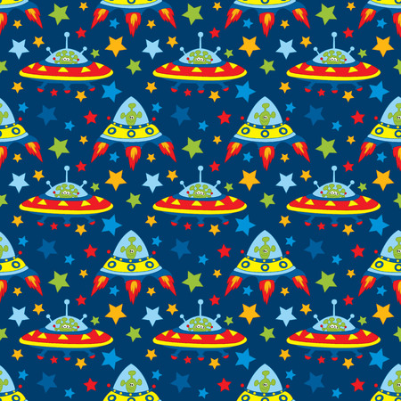 patter: Vector seamless patter with unidentified flying object, alien and stars