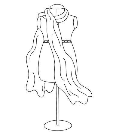 dummy: Vector black and white dummy, mannequin - sketch Illustration