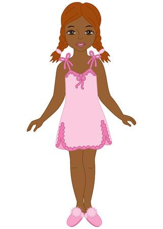 sleepers: Vector African American beautiful girl in pyjamas and sleepers