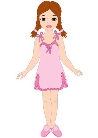 sleepers: Vector beautiful girl in pyjamas and sleepers