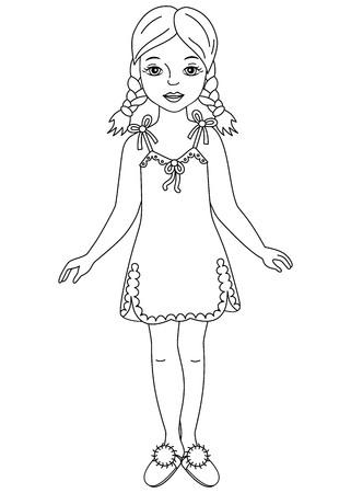 sleepers: Vector black and white beautiful girl in pyjamas and sleepers