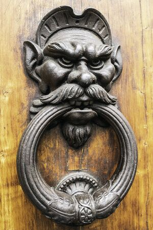 Metal handle with gnome shape angry on wooden door