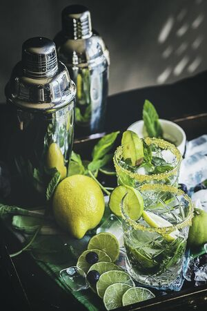 Citrus with ice, mint and sugar for refreshing summer drink