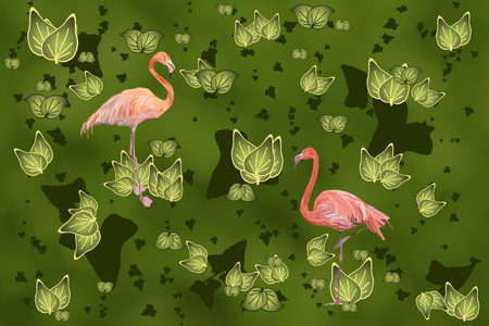 creatively: Flamingos in floral pattern Stock Photo