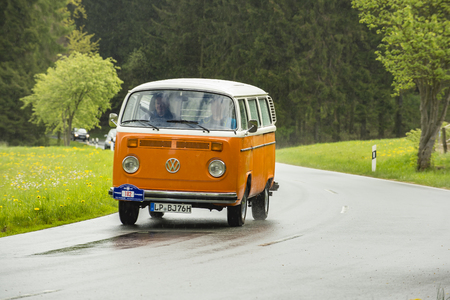 Brilon, Germany - May 13th in 2017: Oldtimer Sauerland round trip VW T2b Bus