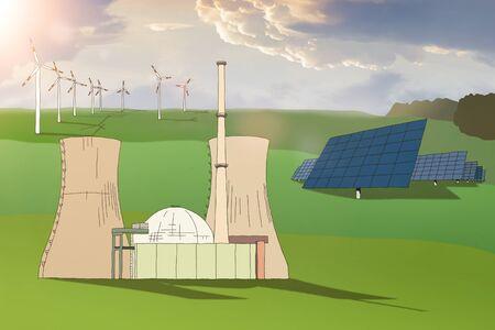 Energy production nuclear power station wind park solar park