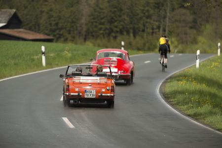 Brilon, Germany - May 13th in 2017: Oldtimer Sauerland round trip MG Midget backside
