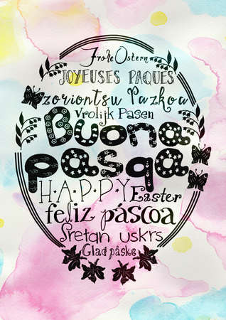 Hand lettering - Happy Easter as text in multiple languages with hand drawn in front of pastel colored background Stock Photo