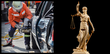 Traffic right - accident vehicle and Justice figure