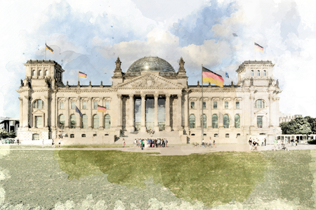 Berlin, Berlin, Germany - July 10th 2013: Illustrative editorial  from the German Reichstag building in the style of an antique printed picture Publikacyjne