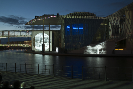 BerlinBerlin, Germany - July 10th 2013: At dusk, a multimedia show is shown on the Reichstag building Publikacyjne