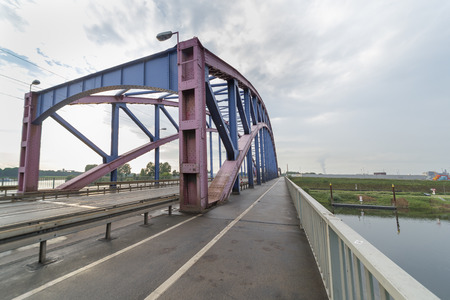 Duisburg, Germany - August 1st 2017: Road bridge Karl-Lehr-Brücke in Duisburg near the Ruhr river