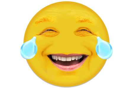 A man in his mid 40s laughs. The facial features have a lot of facial expressions. Tears of joy run out of his eyes. The face is circular cut out and isolated in front of white background. Stock Photo